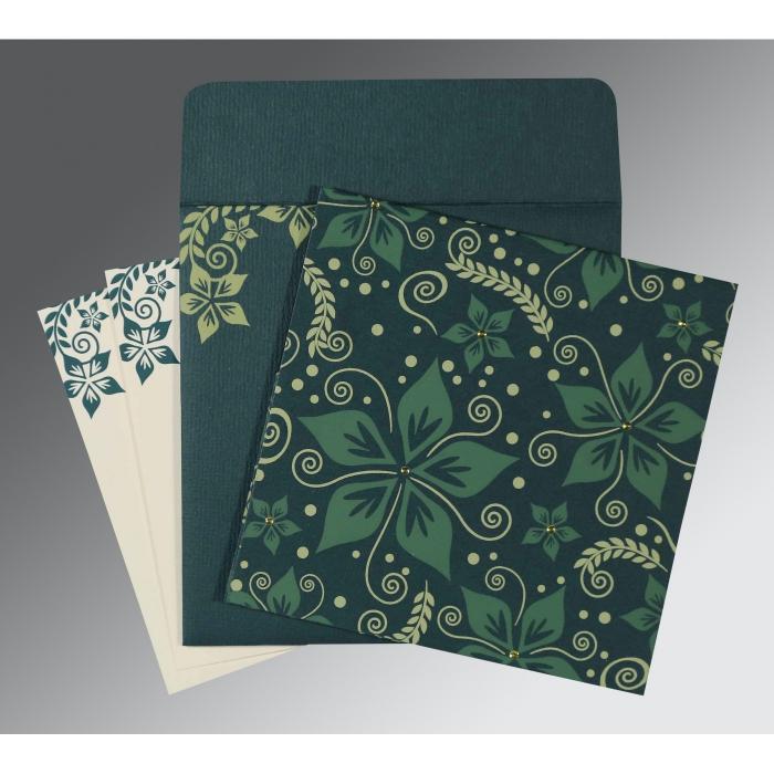 Green Matte Floral Themed - Screen Printed Wedding Invitation : CIN-8240N - IndianWeddingCards