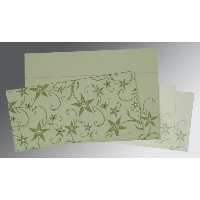 Green Matte Floral Themed - Screen Printed Wedding Invitation : CW-8225E - IndianWeddingCards