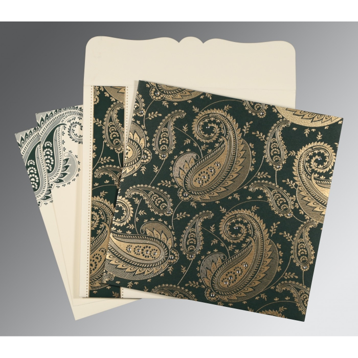Green Matte Paisley Themed - Screen Printed Wedding Card : CC-8250C - IndianWeddingCards