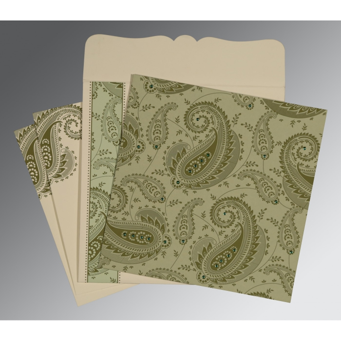 Green Matte Paisley Themed - Screen Printed Wedding Card : CD-8250G - IndianWeddingCards