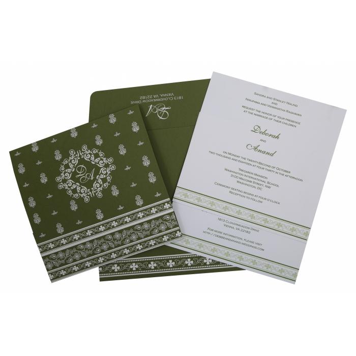 Green Matte Screen Printed Wedding Invitation : CD-808A - IndianWeddingCards