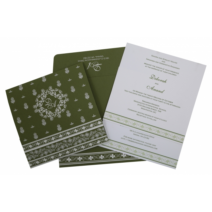 Green Matte Screen Printed Wedding Invitation : CS-808A - IndianWeddingCards
