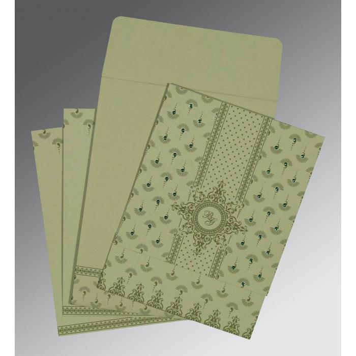 Green Matte Screen Printed Wedding Invitation : CD-8247L - IndianWeddingCards