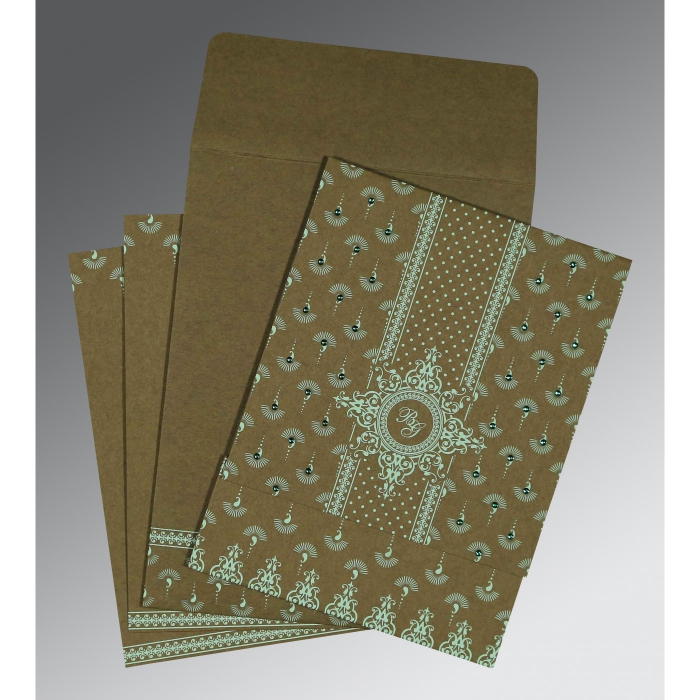 Green Matte Screen Printed Wedding Invitation : CW-8247E - IndianWeddingCards