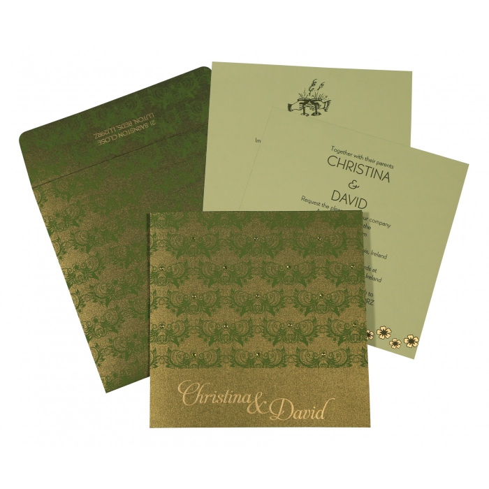 Green Shimmery Butterfly Themed - Screen Printed Wedding Card : CD-8258B - IndianWeddingCards