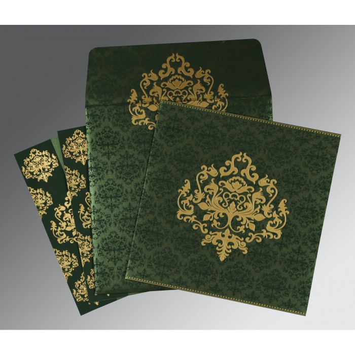 Green Shimmery Damask Themed - Screen Printed Wedding Invitations : CD-8254D - IndianWeddingCards