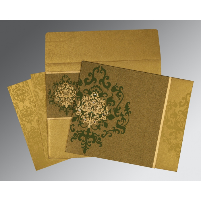 Green Shimmery Damask Themed - Screen Printed Wedding Card : CS-8253C - IndianWeddingCards