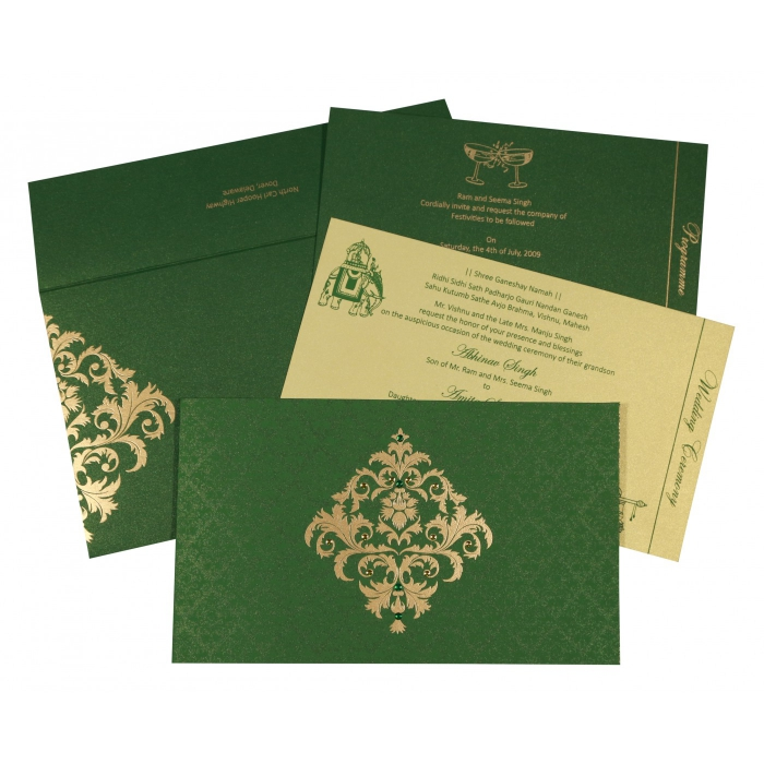 Green Shimmery Damask Themed - Screen Printed Wedding Card : CS-8257F - IndianWeddingCards