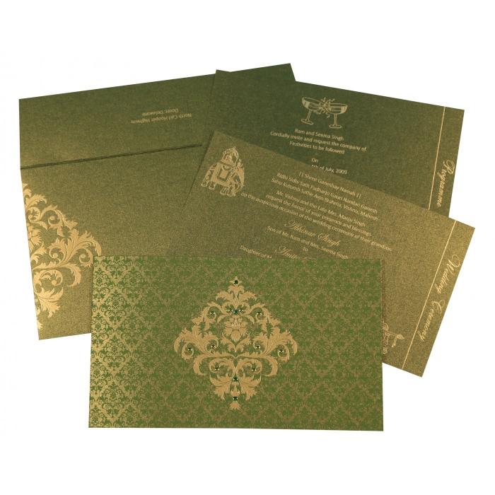 Green Shimmery Damask Themed - Screen Printed Wedding Card : CW-8257A - IndianWeddingCards