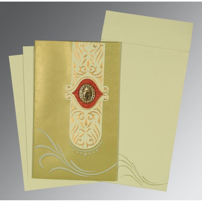 Green Shimmery Embossed Wedding Card : CS-1317 - IndianWeddingCards