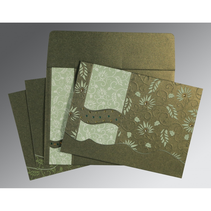 Green Shimmery Floral Themed - Embossed Wedding Invitation : CD-8236H - IndianWeddingCards