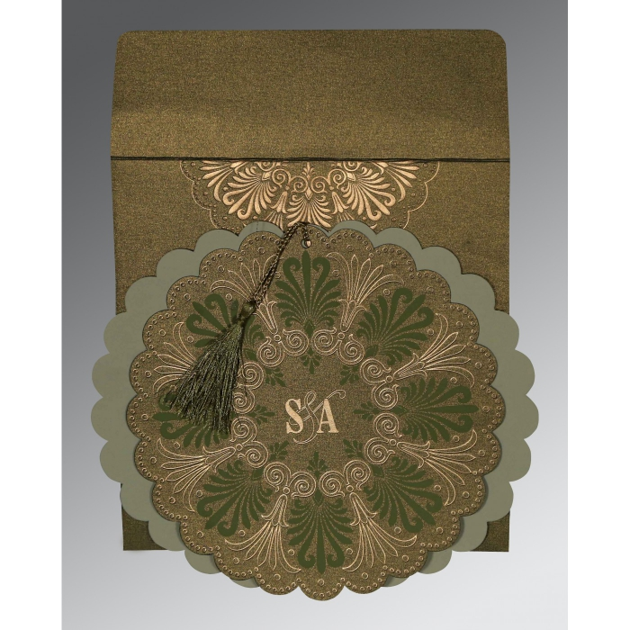 Green Shimmery Floral Themed - Embossed Wedding Card : CD-8238K - IndianWeddingCards