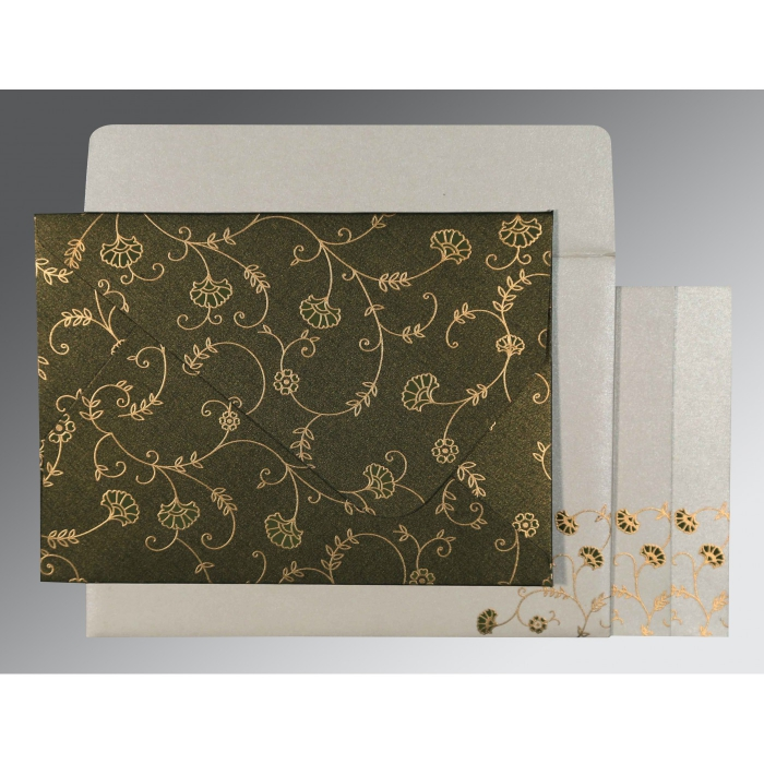 Green Shimmery Floral Themed - Screen Printed Wedding Invitation : CD-8248D - IndianWeddingCards