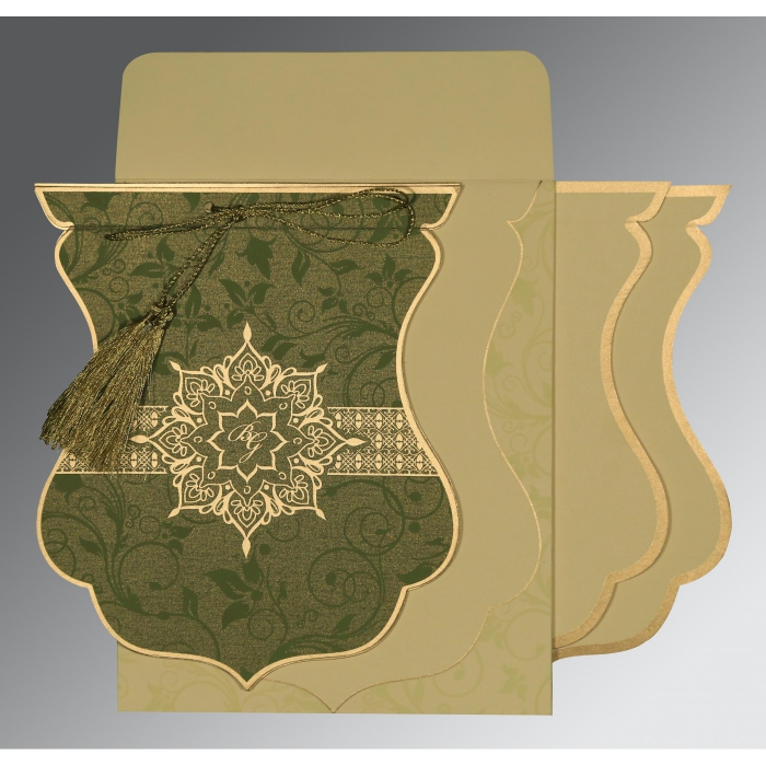 Green Shimmery Floral Themed - Screen Printed Wedding Card : CI-8229P - IndianWeddingCards