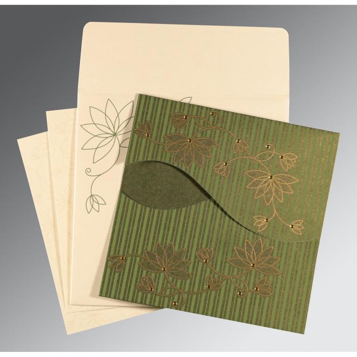 Green Shimmery Floral Themed - Screen Printed Wedding Invitation : CI-8251K - IndianWeddingCards