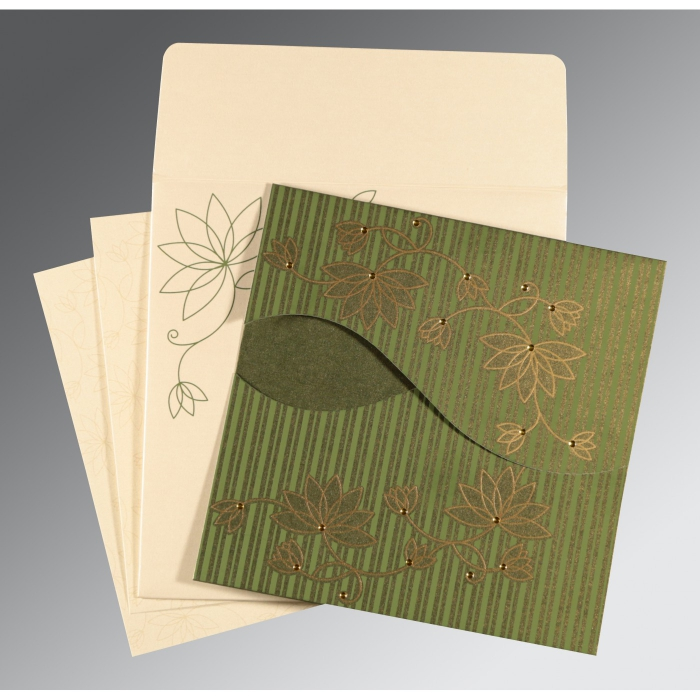 Green Shimmery Floral Themed - Screen Printed Wedding Invitation : CS-8251K - IndianWeddingCards