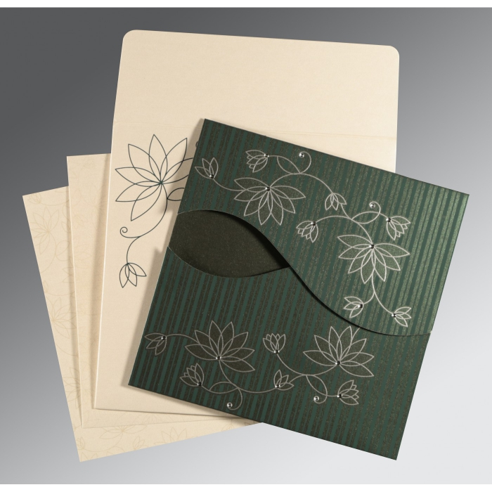 Green Shimmery Floral Themed - Screen Printed Wedding Invitation : CW-8251J - IndianWeddingCards