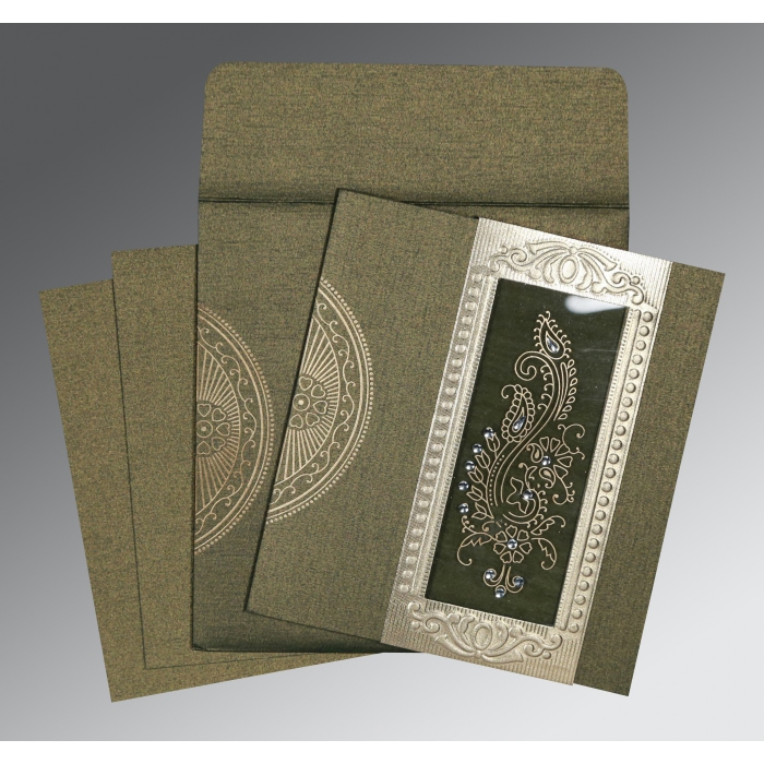 Green Shimmery Paisley Themed - Foil Stamped Wedding Invitation : CW-8230L - IndianWeddingCards