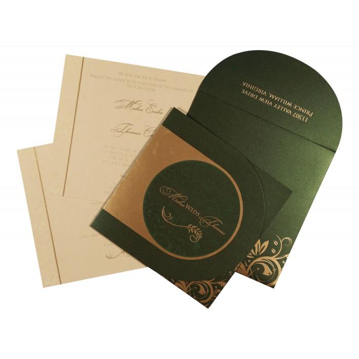 Green Shimmery Paisley Themed - Screen Printed Wedding Card : CW-8264I - IndianWeddingCards