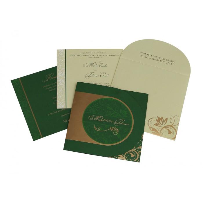 Green Shimmery Paisley Themed - Screen Printed Wedding Card : CW-8264J - IndianWeddingCards
