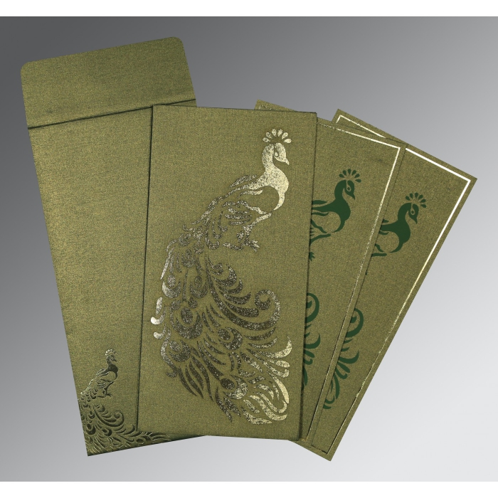 Green Shimmery Peacock Themed - Laser Cut Wedding Invitation : CW-8255D - IndianWeddingCards