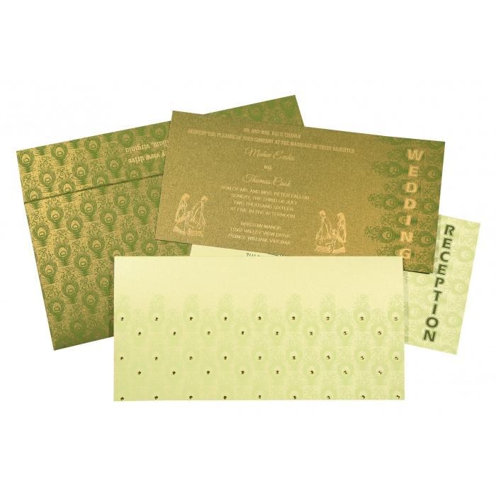 Green Shimmery Peacock Themed - Screen Printed Wedding Invitation : CD-8256F - IndianWeddingCards