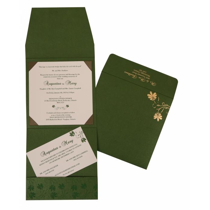 Green Shimmery Screen Printed Wedding Invitation : CI-803B - IndianWeddingCards