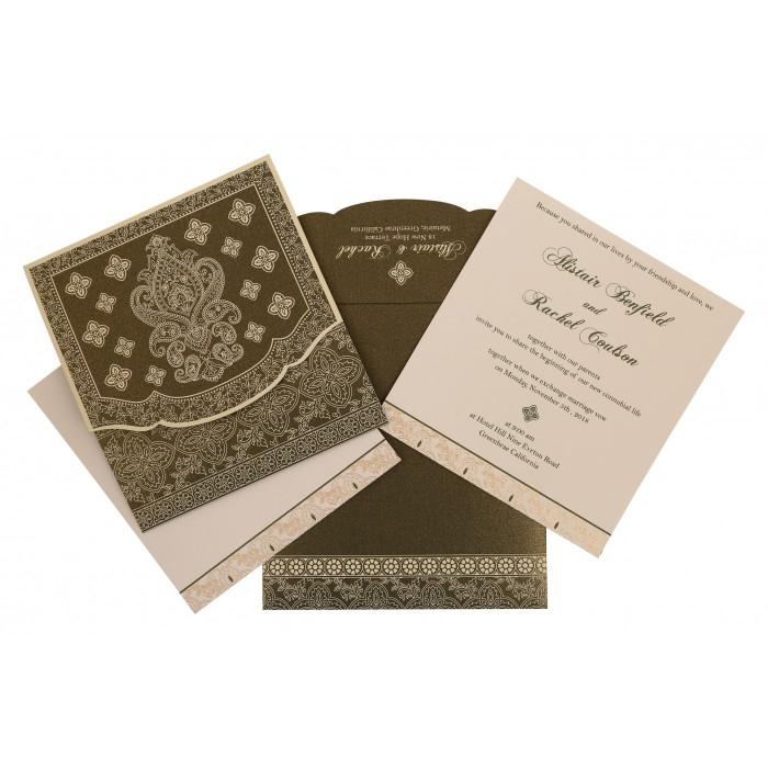 Green Shimmery Screen Printed Wedding Invitation : CIN-800A - IndianWeddingCards