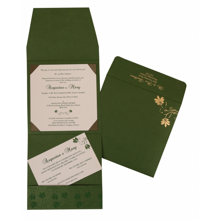 Green Shimmery Screen Printed Wedding Invitation : CS-803B - IndianWeddingCards