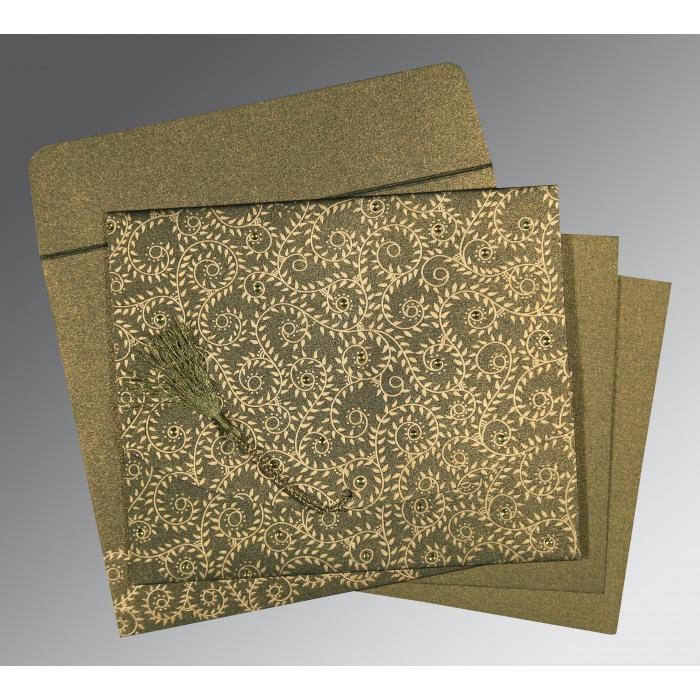 Green Shimmery Screen Printed Wedding Invitation : CS-8217H - IndianWeddingCards