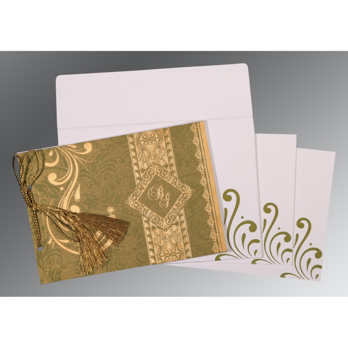 Green Shimmery Screen Printed Wedding Card : CW-8223I - IndianWeddingCards