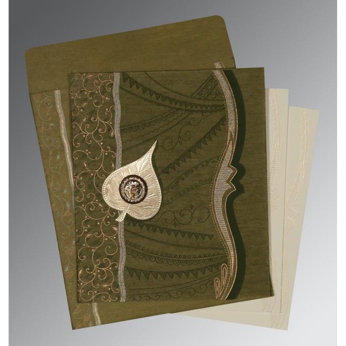 Green Wooly Embossed Wedding Card : CS-8210I - IndianWeddingCards