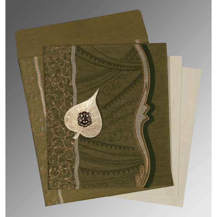 Green Wooly Embossed Wedding Card : CW-8210I - IndianWeddingCards