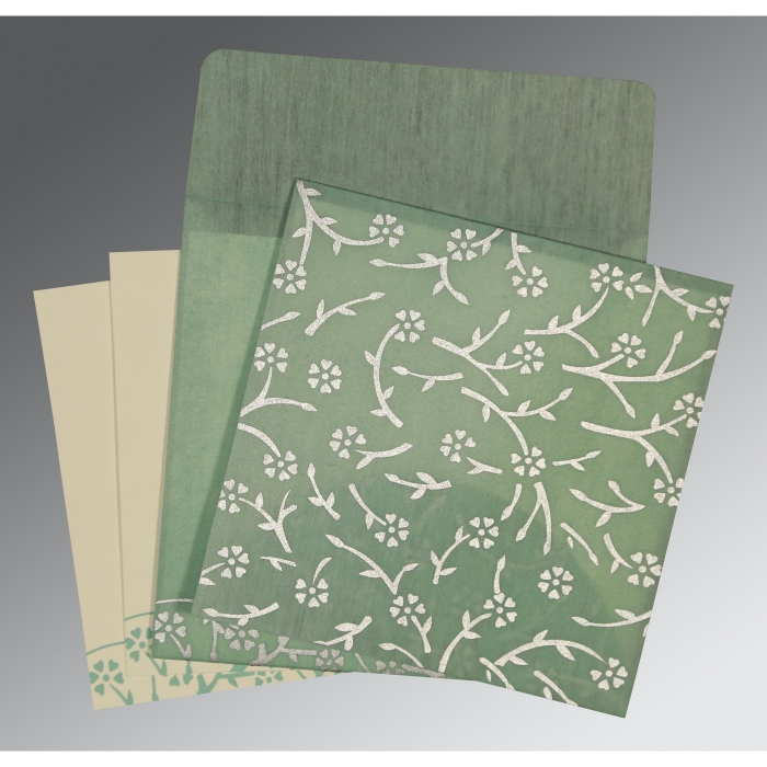 Green Wooly Floral Themed - Screen Printed Wedding Invitation : CD-8216F - IndianWeddingCards