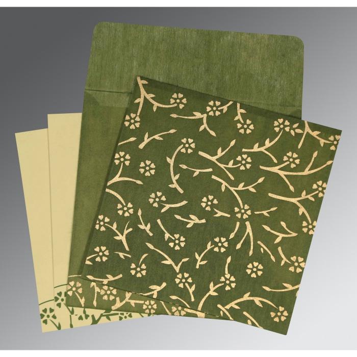 Green Wooly Floral Themed - Screen Printed Wedding Invitation : CI-8216J - IndianWeddingCards