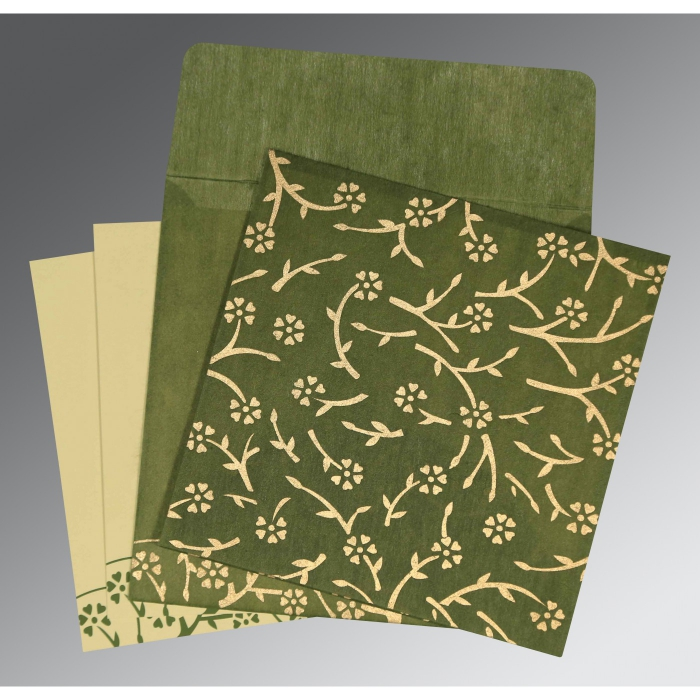 Green Wooly Floral Themed - Screen Printed Wedding Invitation : CS-8216J - IndianWeddingCards