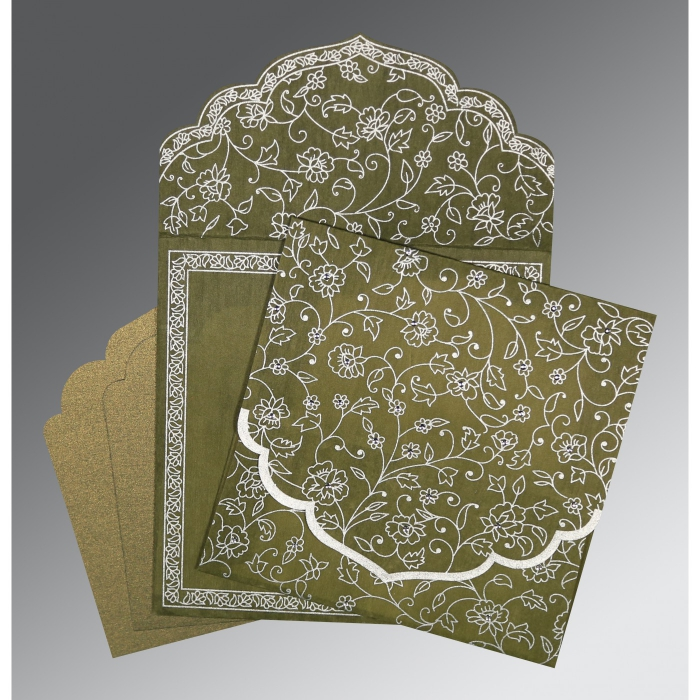 Green Wooly Floral Themed - Screen Printed Wedding Invitation : CW-8211M - IndianWeddingCards