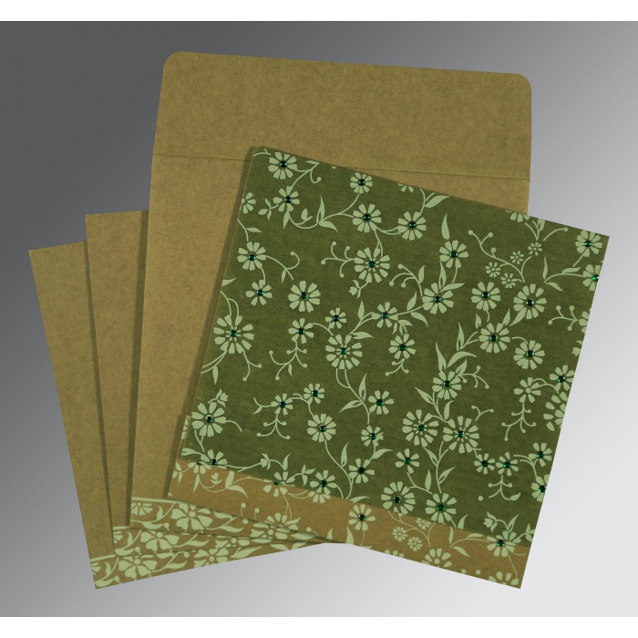 Green Wooly Floral Themed - Screen Printed Wedding Card : CW-8222D - IndianWeddingCards