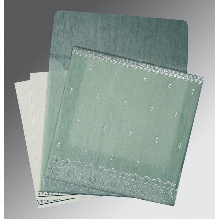 Green Wooly Foil Stamped Wedding Card : CD-8242K - IndianWeddingCards