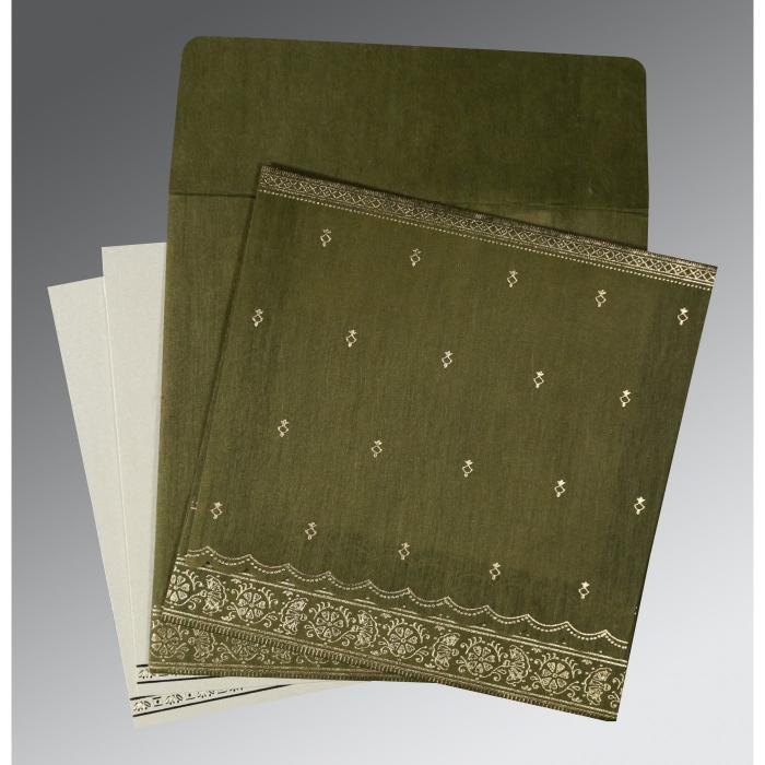 Green Wooly Foil Stamped Wedding Card : CI-8242O - IndianWeddingCards