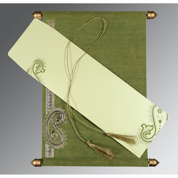 Green Wooly Foil Stamped Wedding Card : CSC-5015I - IndianWeddingCards