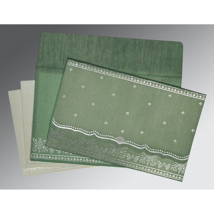 Green Wooly Foil Stamped Wedding Invitation : CW-8241C - IndianWeddingCards