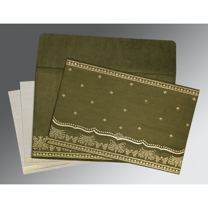 Green Wooly Foil Stamped Wedding Invitation : CW-8241L - IndianWeddingCards