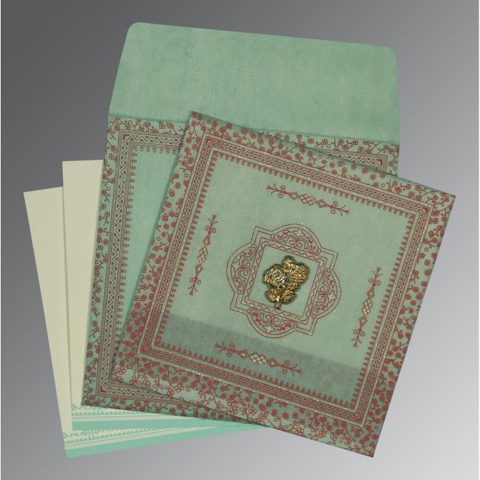 Green Wooly Glitter Wedding Card : CI-8205N - IndianWeddingCards