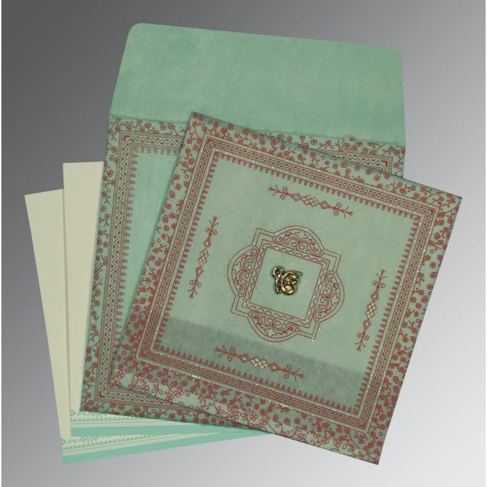 Green Wooly Glitter Wedding Card : CS-8205N - IndianWeddingCards