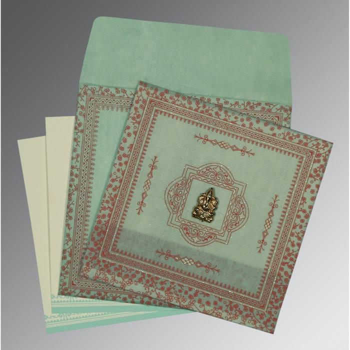 Green Wooly Glitter Wedding Card : CW-8205N - IndianWeddingCards