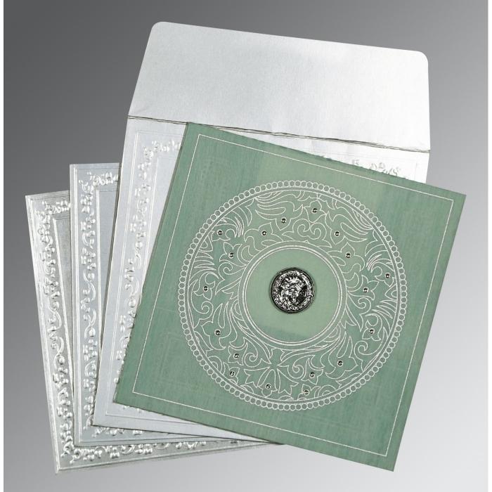 Green Wooly Screen Printed Wedding Card : CS-8214P - IndianWeddingCards