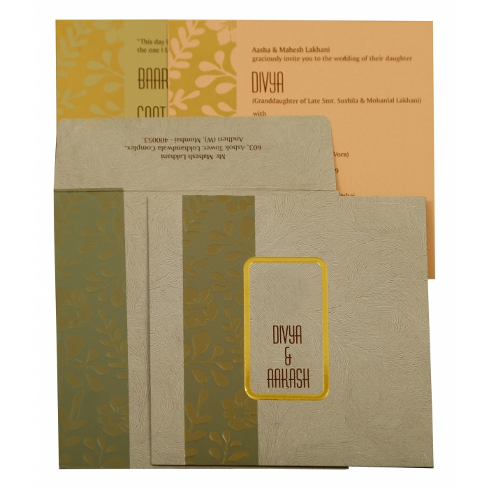Grey Matte Floral Themed - Foil Stamped Wedding Invitation : CW-1883 - IndianWeddingCards