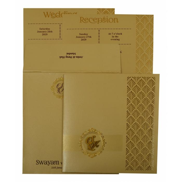 Grey Shimmery Paisley Themed - Laser Cut Wedding Invitation : CW-1928 - IndianWeddingCards