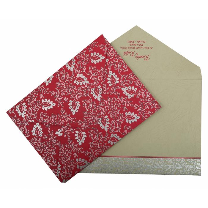 Hot Pink Matte Paisley Themed - Screen Printed Wedding Invitation : CI-811E - IndianWeddingCards